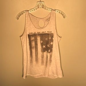 """Love Is The Only Thing"" tank with a keyhole back."